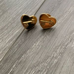 Tory Burch heart shaped earrings.